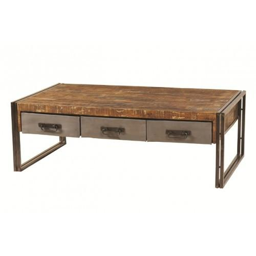 Abran Reclaimed Wood & Metal 3 Drawer Coffee Table