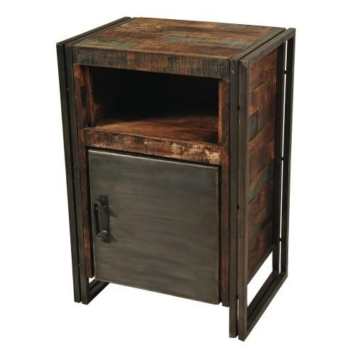 Abran Reclaimed Wood & Metal 1 Door Cainet