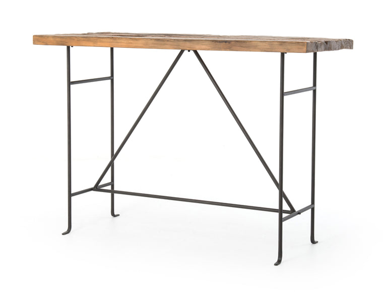 MILLEDGE  BAR TABLE-BLEACHED PINE/RUST BRN