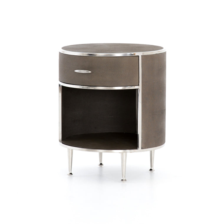 BLOSSOM  ROUND NIGHTSTAND-STAINLESS STEEL