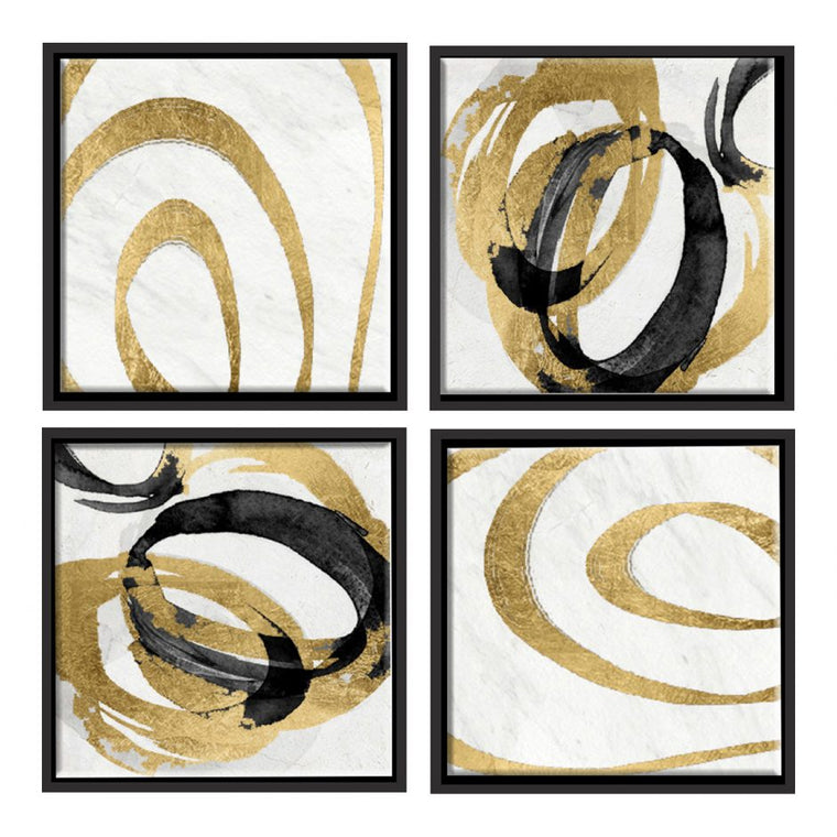 Gold Swirls Wall Décor Set Of 4