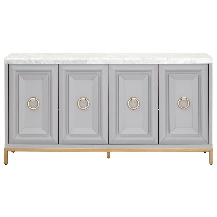 JANEY MEDIA SIDEBOARD DOVE GRAY, BRUSHED GOLD