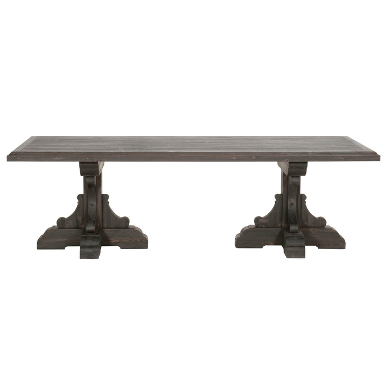 CAYLEY RECTANGLE DINING TABLE BLACK WASH PINE
