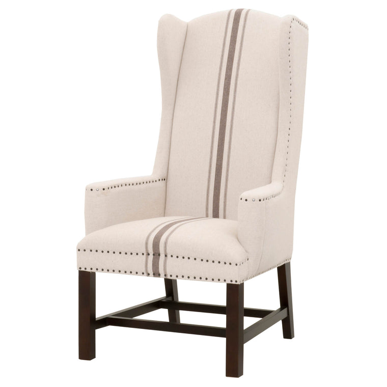 KEKET ARM CHAIR JUTE W/ GRAY STRIPE FABRIC