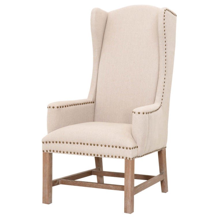 HANNELA ARM CHAIR OATMEAL LINEN, STONE WASH OAK