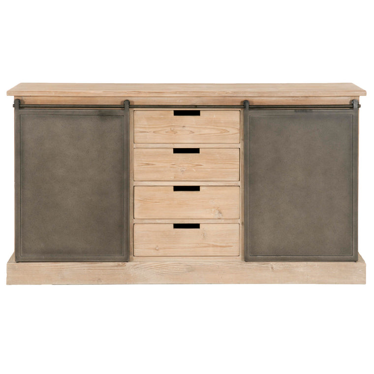 KAISA MEDIA SIDEBOARD SMOKE GRAY PINE, GRAY STEEL