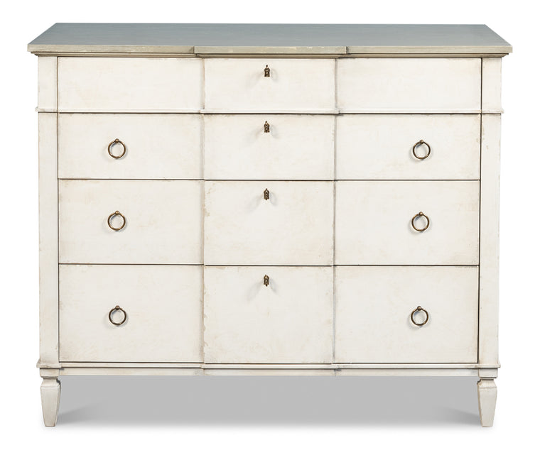 Anniston Dresser,Stucco Wht, Grey Quartz