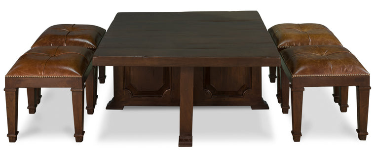 Kynlee Cocktail Coffee Table W/Stools, Walnut