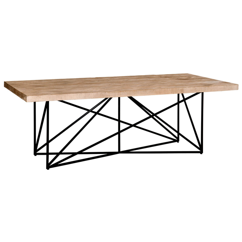 SAKARIAS DINING TABLE SMOKE GRAY PINE, NATURAL STEEL, RECLAIMED