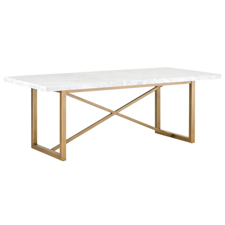 JENSINE DINING TABLE WHITE CARRERA MARBLE, BRUSHED GOLD
