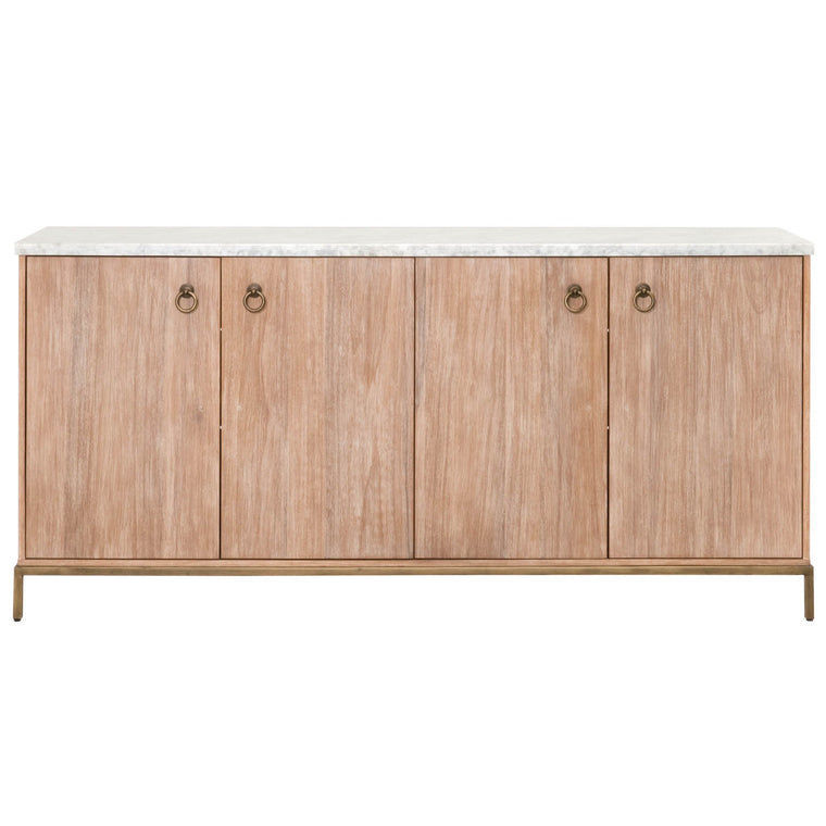 JENSINE MEDIA SIDEBOARD STONE WASH, WHITE CARRERA MARBLE, BRUSHED GOLD