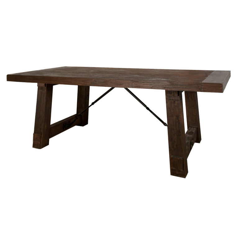 BERNYCE EXTENSION DINING TABLE RUSTIC JAVA, IRON, ACACIA