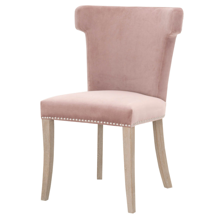 CHARLITA DINING CHAIR DUSTY ROSE VELVET, NATURAL GRAY