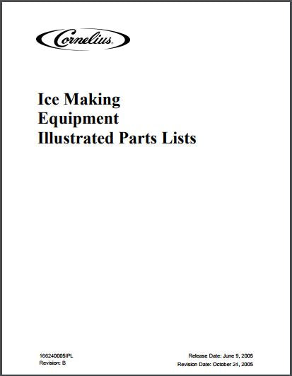 Cornelius Ice Making Equipment Spec Sheet and Illustrated Parts List