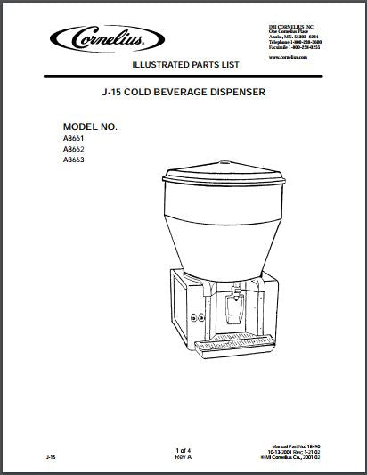 Cornelius Jetspray J-15 Cold Beverage Dispenser Spec Sheet