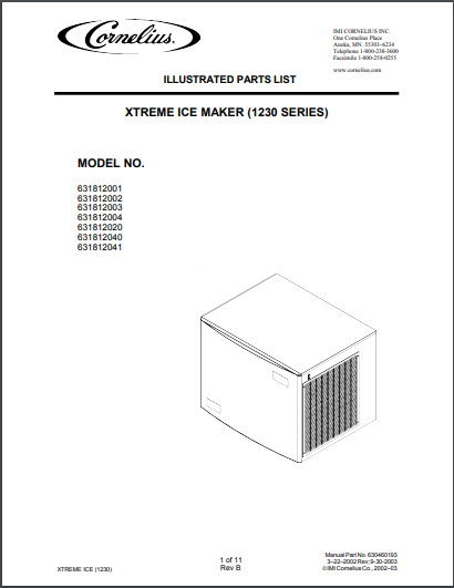 Cornelius Xtreme Ice Maker 1230 Series Spec Sheet