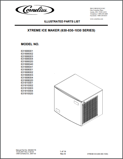 Cornelius Xtreme Ice Maker 630, 830, 1030 Series Spec Sheet