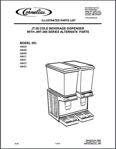 Jetspray JT-20 Cold Beverage Dispenser Spec Sheet with JWT-200 Series Alternate Parts: MODEL NO. A8420 A8430 A8450 A8421 A8431 A8422 A8432