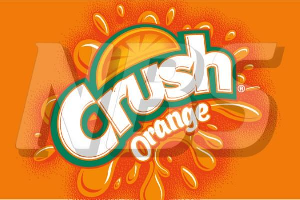 "Crush Orange Soda 63 UF-1 Valve Decal, VI04631837 2"" x 1 1/4"""