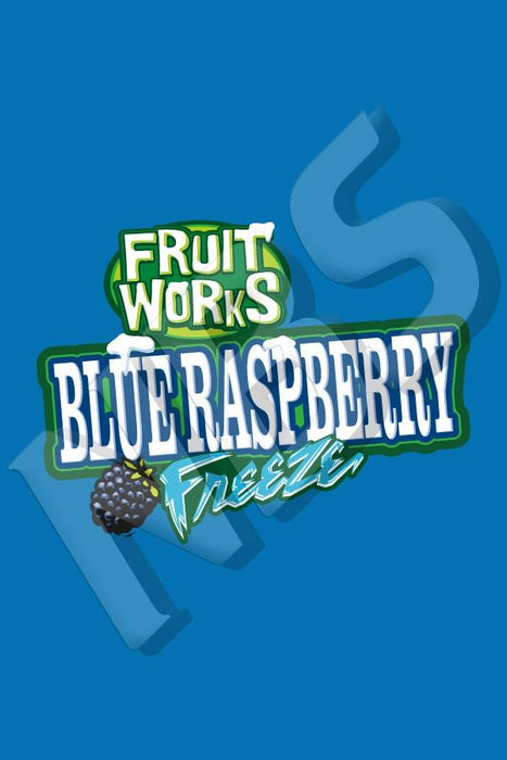"Fruit Works Blue Raspberry Freeze UF-1 Valve Decal, VI016413022"" x 2 7/8"""