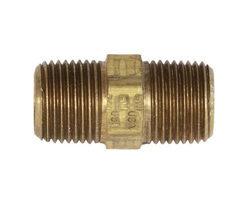 28213 : Brass 3/8 MPT Hex Pipe Nipple, E216P-6