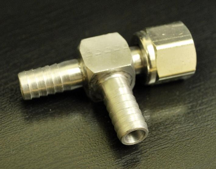 SS 3/8 Barb Tee with 3/8 Side Swivel Nut, 7047