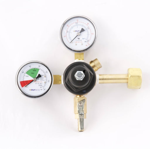 "3741-BR: Primary Beer Regulator 1P1P, CGA320 Inlet, 5/16""Barb Shutoff w/Check, 60lb and 2000lb Gauges"