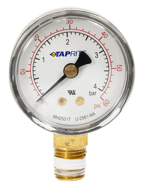 "39-0060-00: Pressure Gauge, 0-60 PSI, 1/4"" NPT Bottom Inlet, Right Hand Threads"