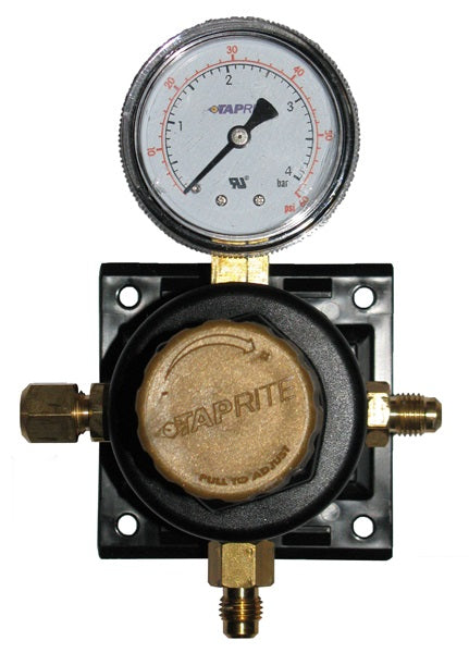 T5261SN60: Secondary Regulator 1P X 1P, 60lb, ¼ flare inlet, ¼ flare check valve outlet, with plastic glide bracket, gold cap