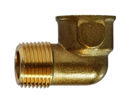 28166: Brass 1/4 FPT X 1/4 MPT Street Elbow FORGED