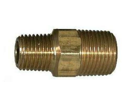28220L : Brass 1/4 MPT X 1/8 MPT Hex Pipe Nipple, E216P-4-2
