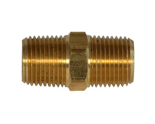 28214L : Brass 1/2 MPT Hex Pipe Nipple,E216P-8