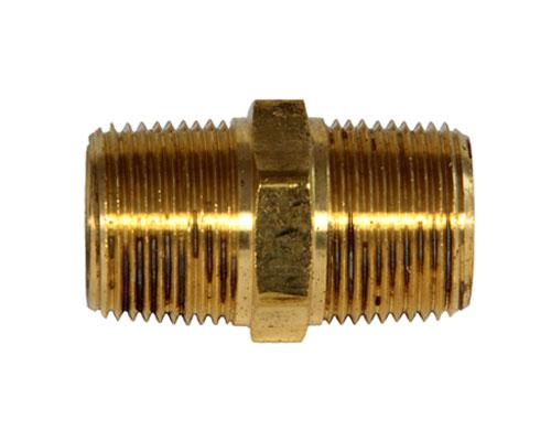 28215 : Brass 3/4 MPT Hex Pipe Nipple, E216P-12