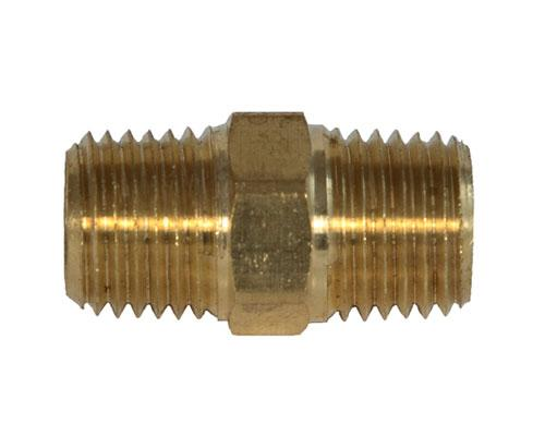 28212L, Brass 1/4 MPT Hex Pipe Nipple, E216P-4