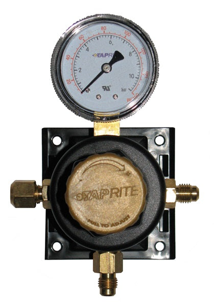 T5261SN-160 Secondary Regulator 1P X 1P, 160lb, ¼ flare inlet/thru with cap, ¼ flare with check valve, with plastic glide bracket, gold cap