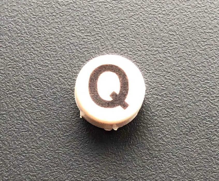 PH10-74-024: Q White Button Cap with Black Letters