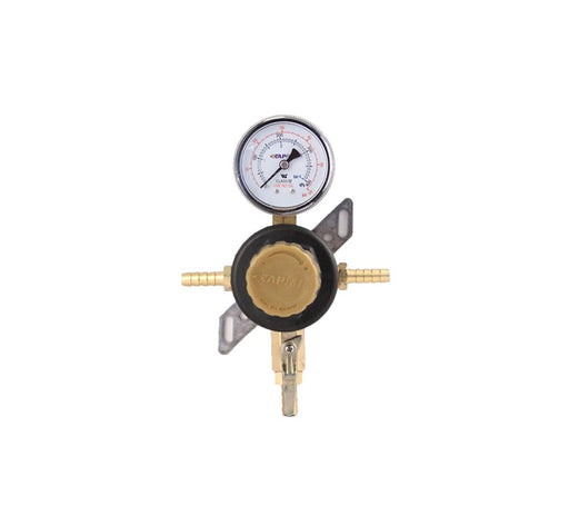 "T1661STC-01 - Secondary Beer Regulator, 1P1P, 5/16"" Barb In/Thru, 5/16"" Barb Shut-off w/Check, 60lb Gauge"