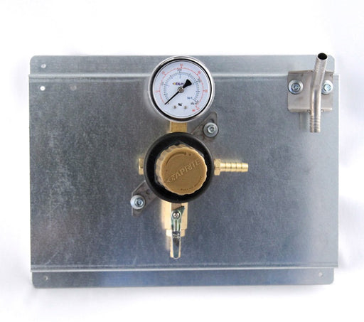 "T1661STWMK - Secondary Beer Regulator, 1P1P, Mounted on 8 1/2"" x 11"" Panel, w/Beer Y, 5/16"" Barb Inlet, 5/16"" Barb Shut-off, 60lb Gauge"