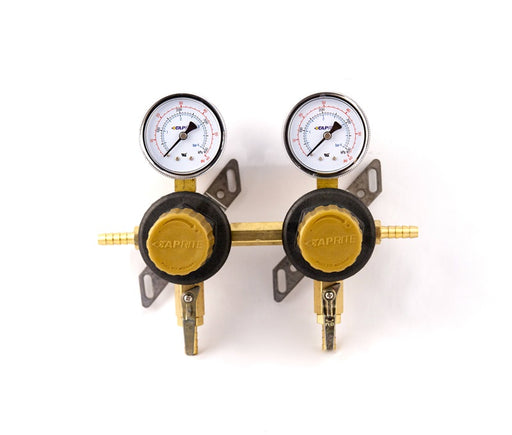 "T1672ST-2N - Secondary Beer Regulator, 2P2P, 5/16"" Barb In/Thru, 5/16"" Barb Shut-offs, 60lb Gauges"