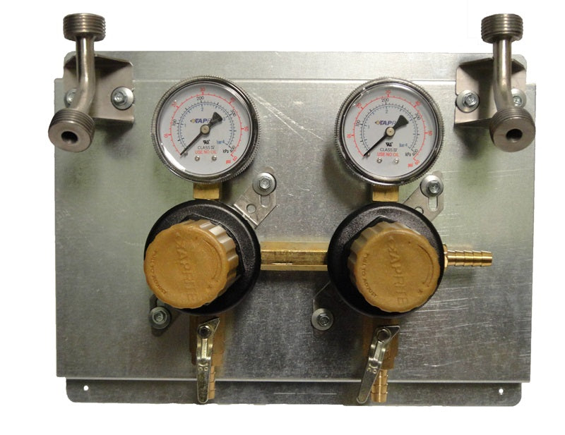 "T1672STWMK:  Secondary Beer Regulator, 2P2P, Mounted on 8 1/2"" x 11"" Panel, w/2 Beer Ys, 5/16"" Barb Inlet, 5/16"" Barb Shut-offs, 60lb Gauges"