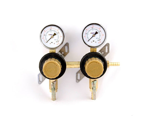 "T1672ST - Secondary Beer Regulator, 2P2P, 5/16"" Barb Inlet, 5/16"" Barb Shut-offs, 60lb Gauges"