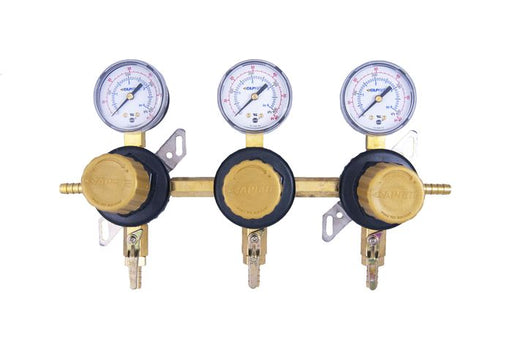 "T1683ST-2N - Secondary Beer Regulator, 3P3P, 5/16"" Barb In/Thru, 5/16"" Barb Shut-offs, 60lb Gauges"