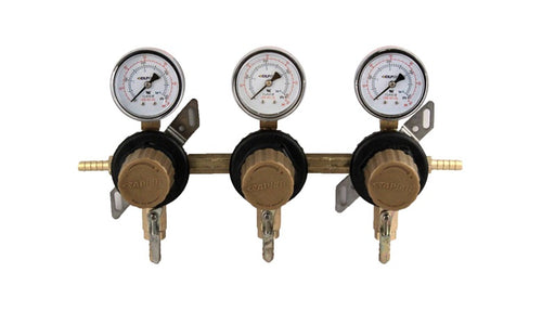 "T1683STC-01 - Secondary Beer Regulator, 3P3P, 5/16"" Barb In/Thru, 5/16"" Barb Shut-offs w/Check, 60lb Gauges"