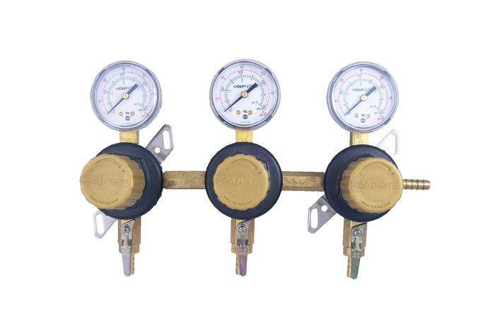 "T1683STC - Secondary Beer Regulator, 3P3P, 5/16"" Barb Inlet, 5/16"" Barb Shut-offs w/Check, 60lb Gauges"