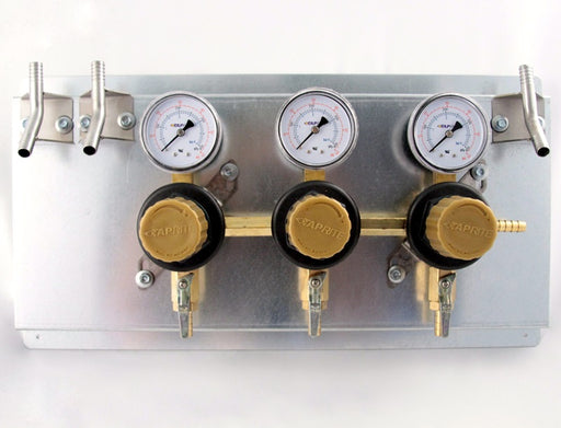 "T1683STWMK:  Secondary Beer Regulator, 3P3P, Mounted on 8 1/2"" x 16"" Panel, w/3 Beer Y's, 5/16"" Barb Inlet, 5/16"" Barb Shut-offs, 60lb Gauges"