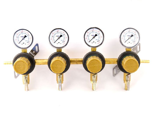 "T1694STC-01 - Secondary Beer Regulator, 4P4P, 5/16"" Barb In/Thru, 5/16"" Barb  Shut-offs w/Check, 60lb Gauges"