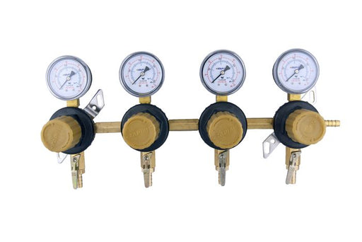 "T1694STC - Secondary Beer Regulator, 4P4P, 5/16"" Barb In/Thru, 5/16"" Barb Shut-offs w/Check, 60lb Gauges"