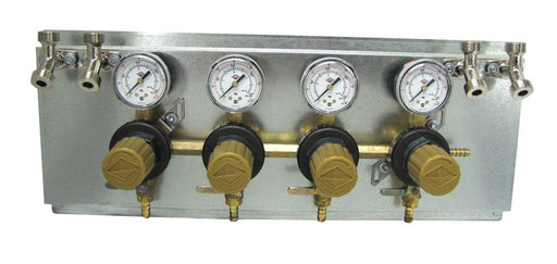 "T1694STWMK:  Secondary Beer Regulator, 4P4P, Mounted on 8 1/2"" x 21"" Panel, w/4 Beer Y's, 5/16"" Barb Inlet, 5/16"" Barb Shut-offs, 60lb Gauges"