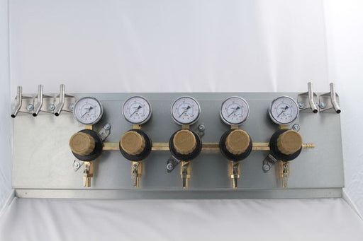 "T1695STWMK:  Secondary Beer Regulator, 5P5P, Mounted on 8 1/2"" x 21"" Panel, w/5 Beer Y's, 5/16"" Barb Inlet, 5/16"" Barb Shut-offs, 60lb Gauges"