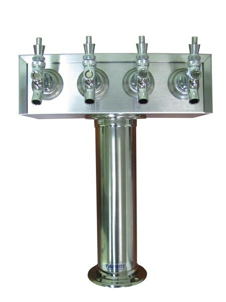 TT4CR-G : T Tower, 4 Product, Stainless Steel Finish, Glycol Ready (uses Drip Tray DT15SS)
